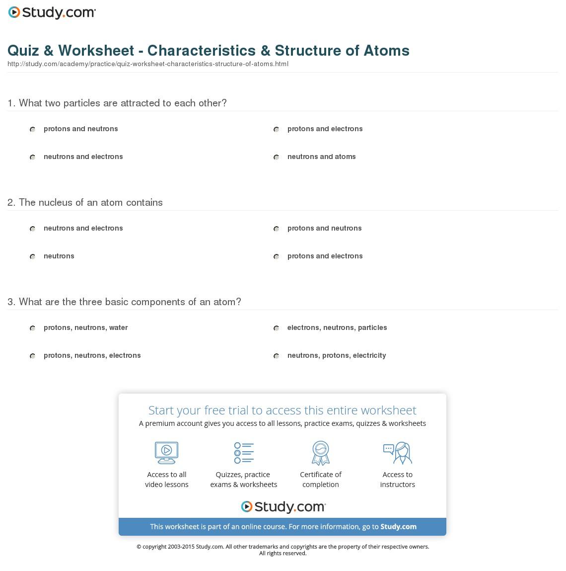 Atom Worksheets Middle School