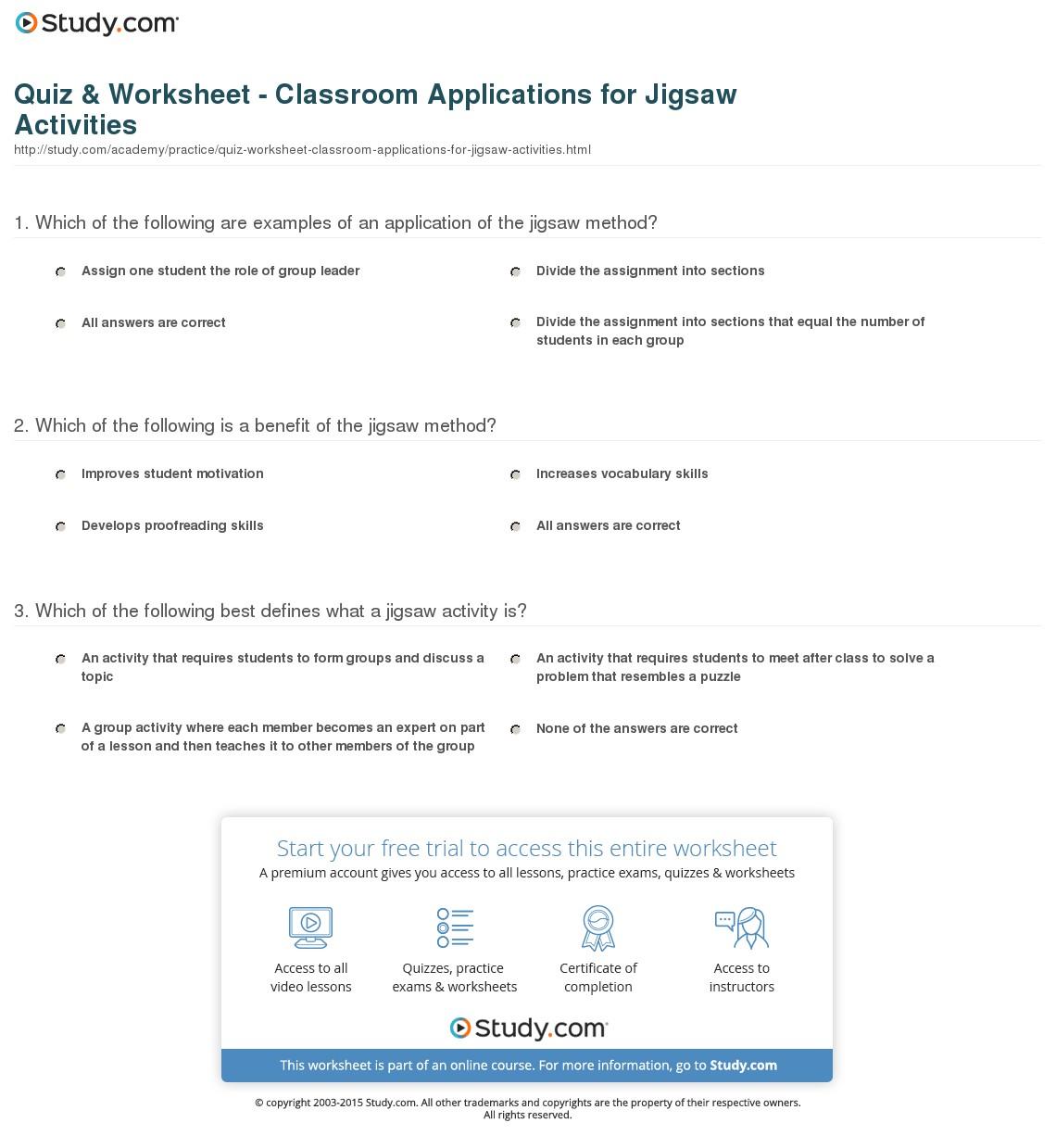 Classroom Activity Worksheets