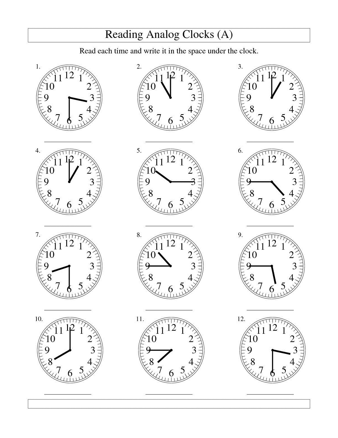 Clock Angles Worksheets