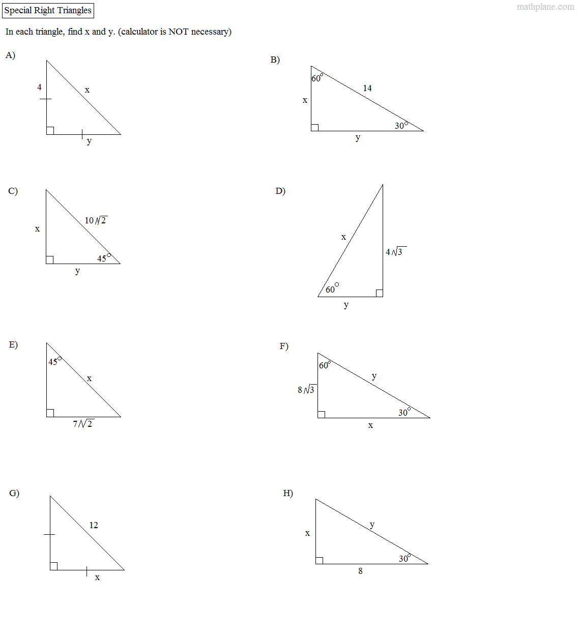 45 45 90 And 30 60 90 Triangles Worksheets