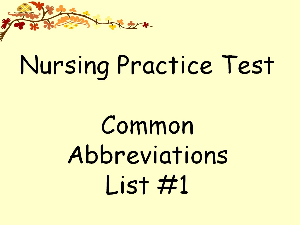 Medical Abbreviations Worksheets