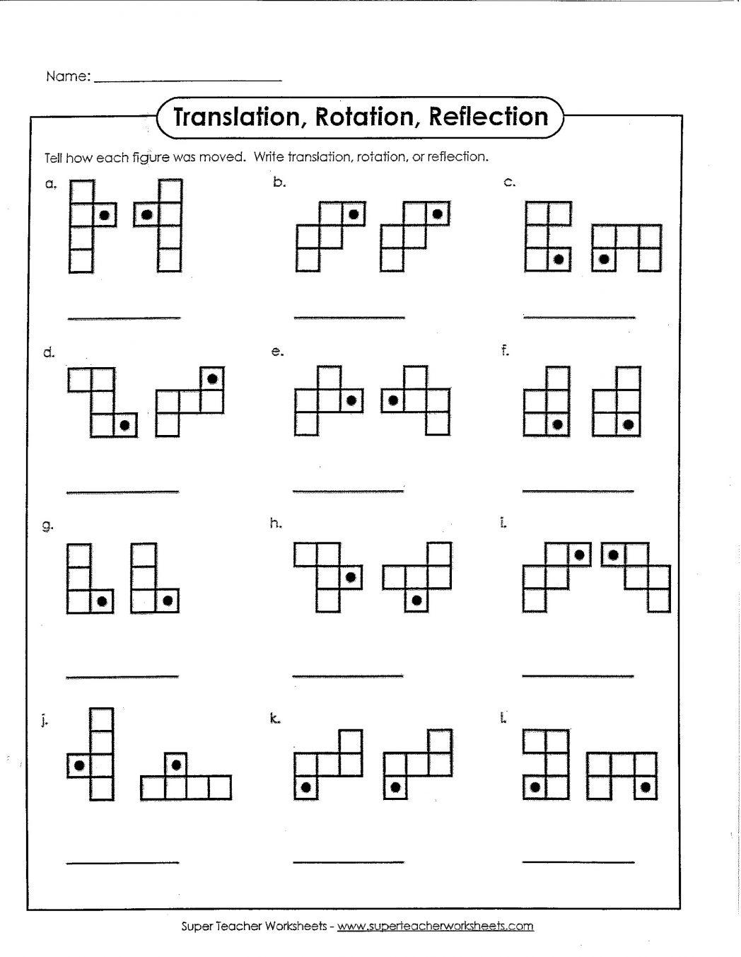 Translation Reflection Rotation Worksheet 4th Grade