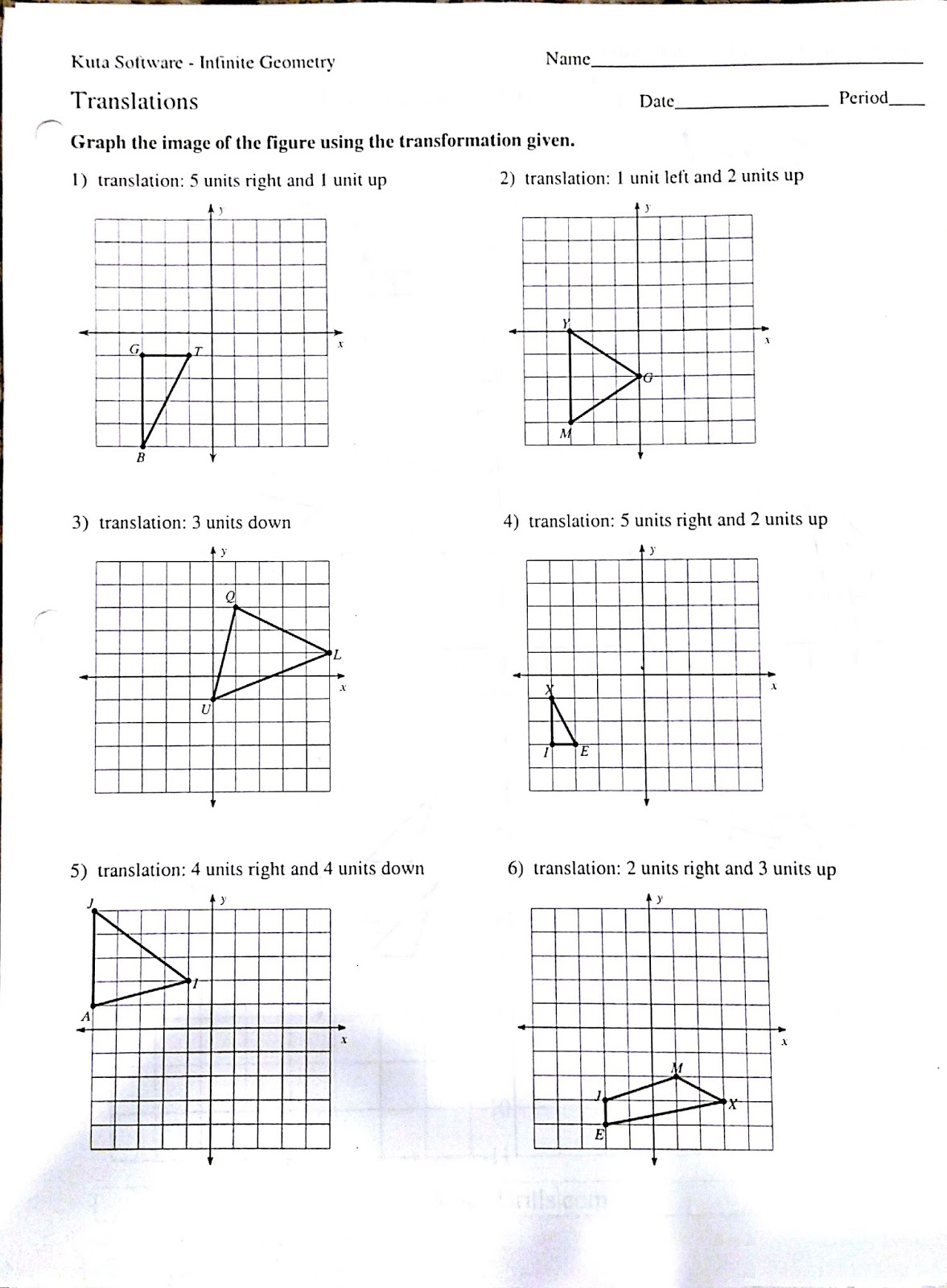 Rotation Reflection Translation Worksheets