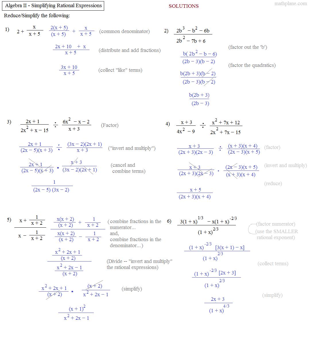 Advanced Algebra Worksheets