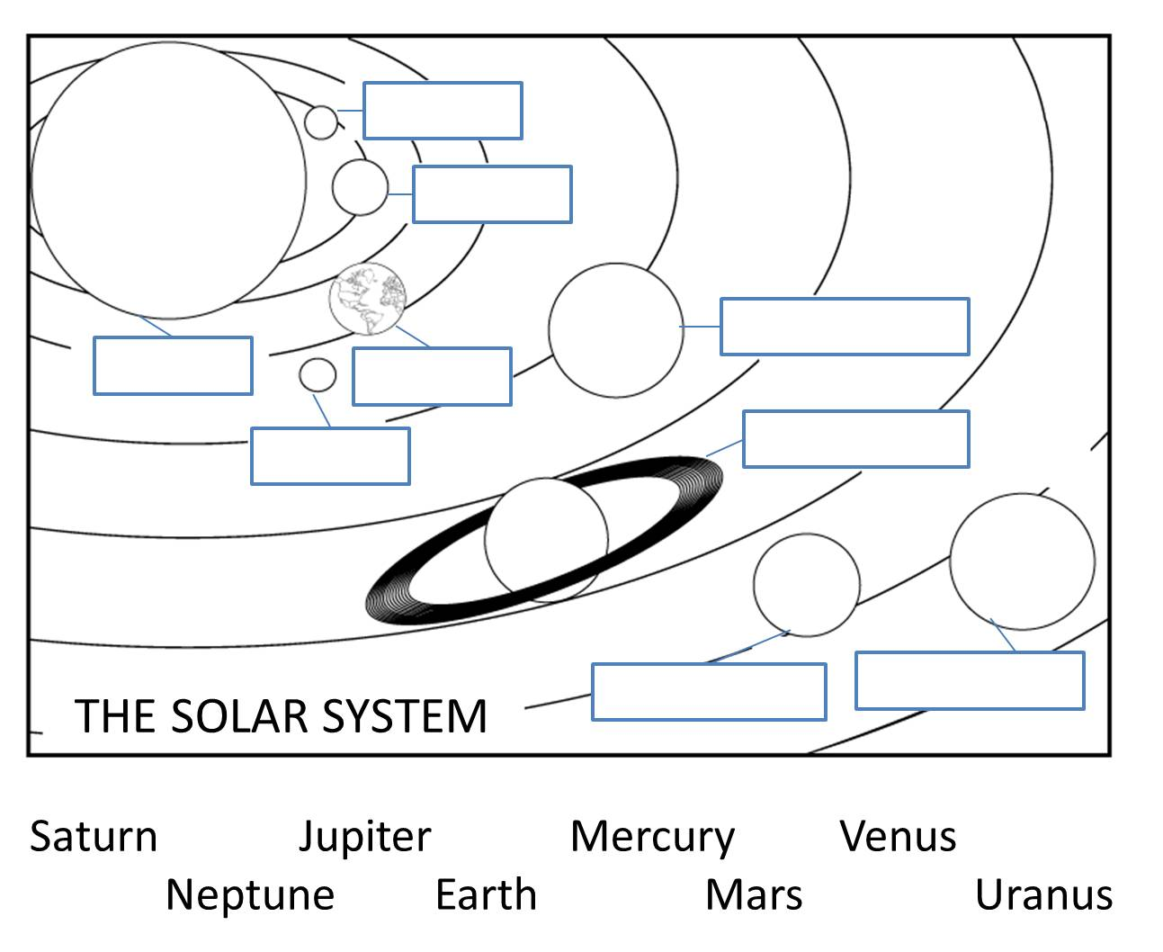 Diagram Of Solar System To Label
