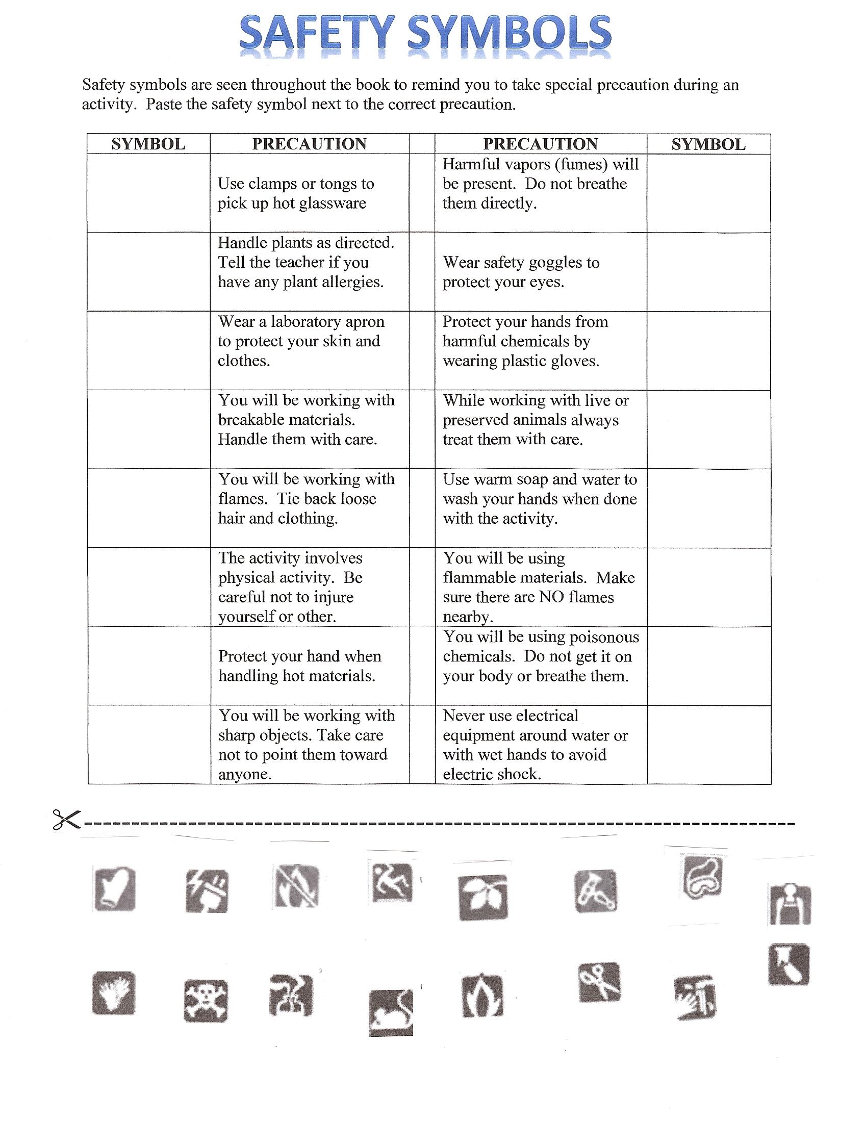 Laboratory Safety Symbols Worksheets