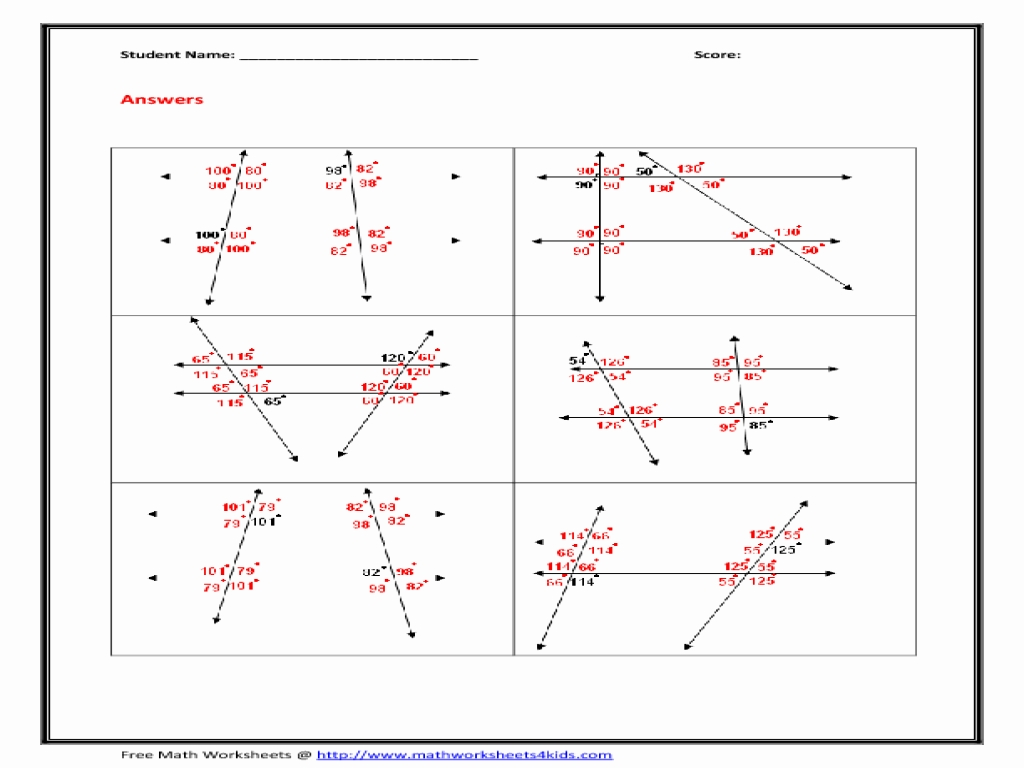 Parallel Lines And Transversals Worksheets Answers