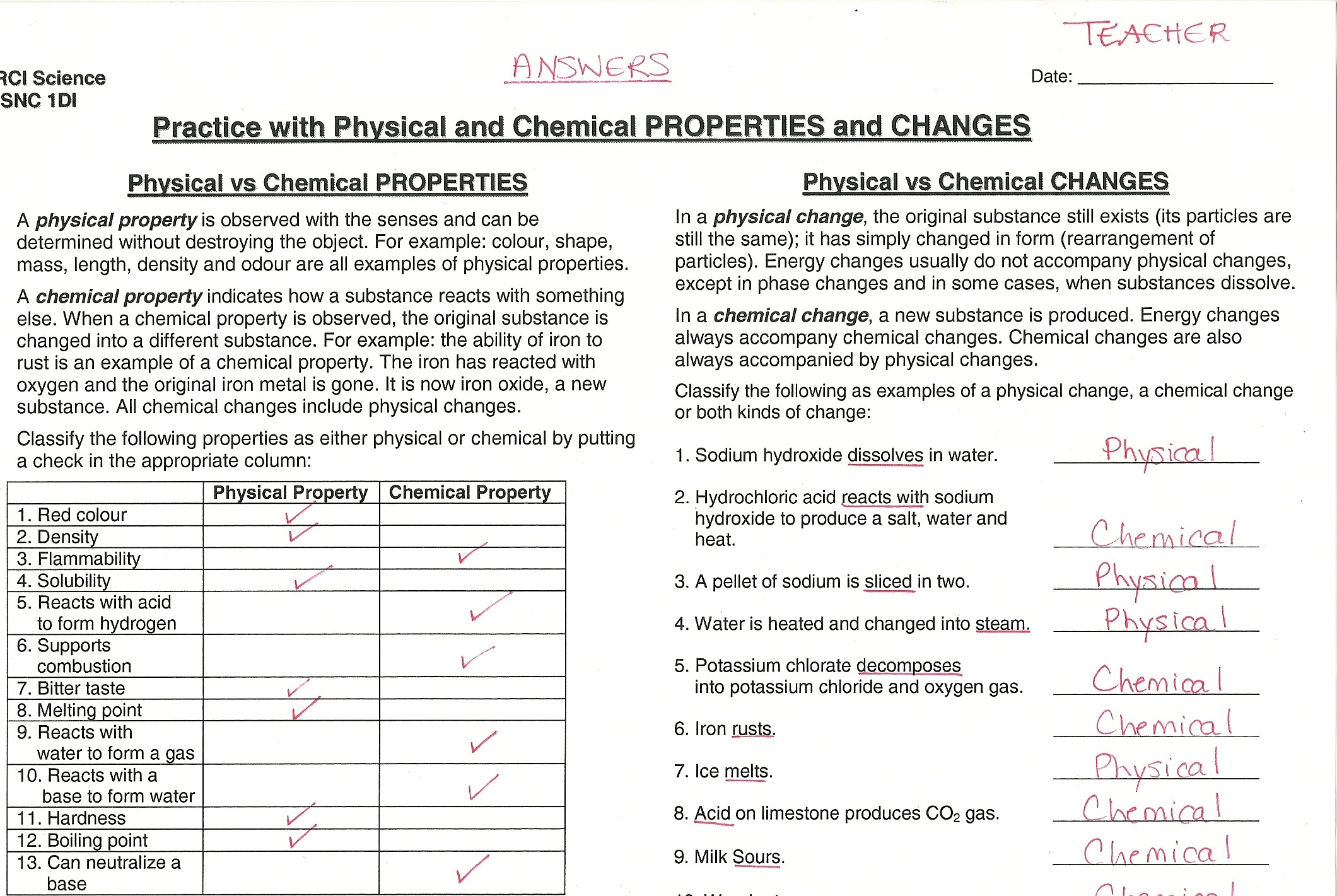 Chemical Physical Properties Worksheets