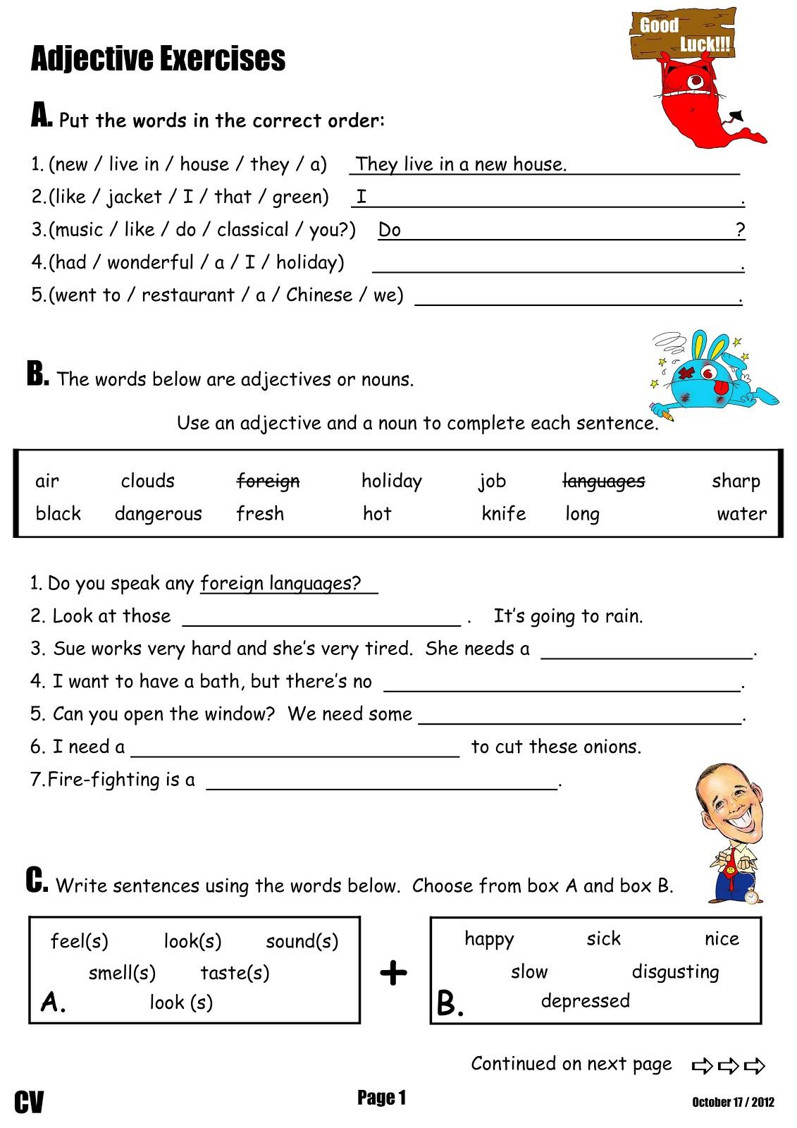 English Worksheets Adjectives