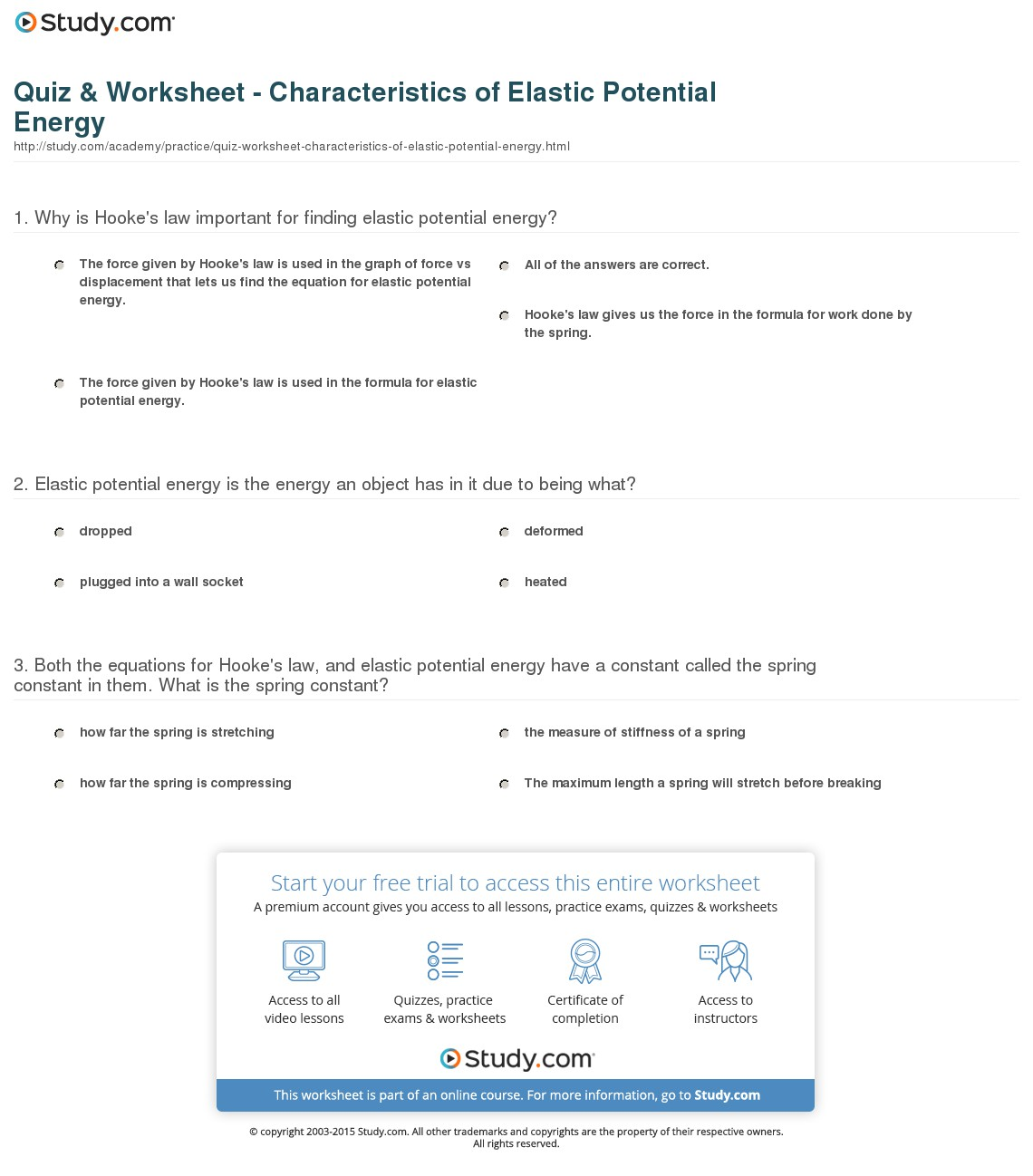 Kinetic And Potential Energy Worksheets 6th Grade