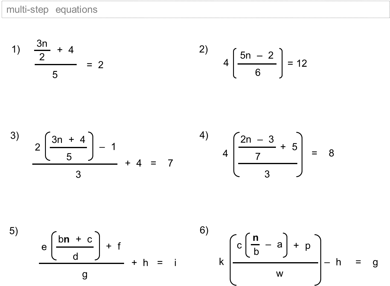 Equations With Fractions Worksheets