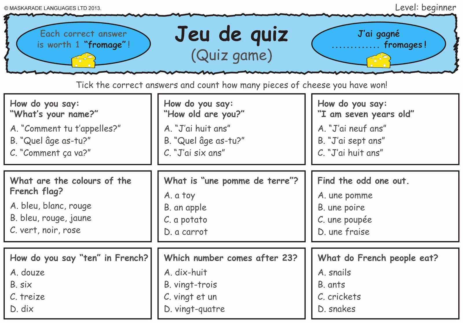 French Worksheets For Adults
