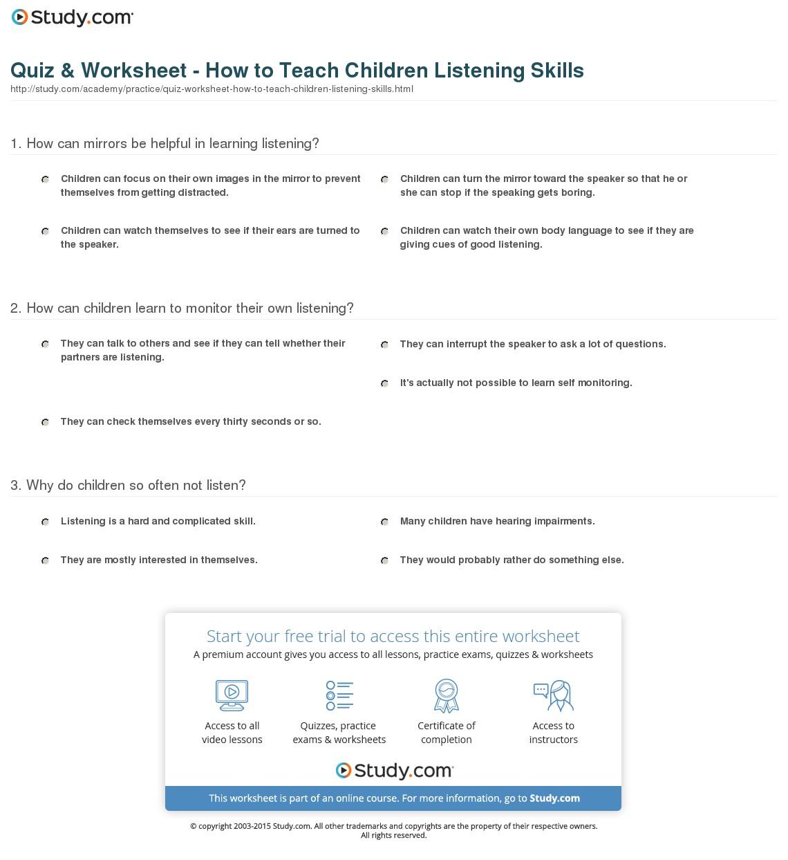 Listening Worksheets For Kindergarten