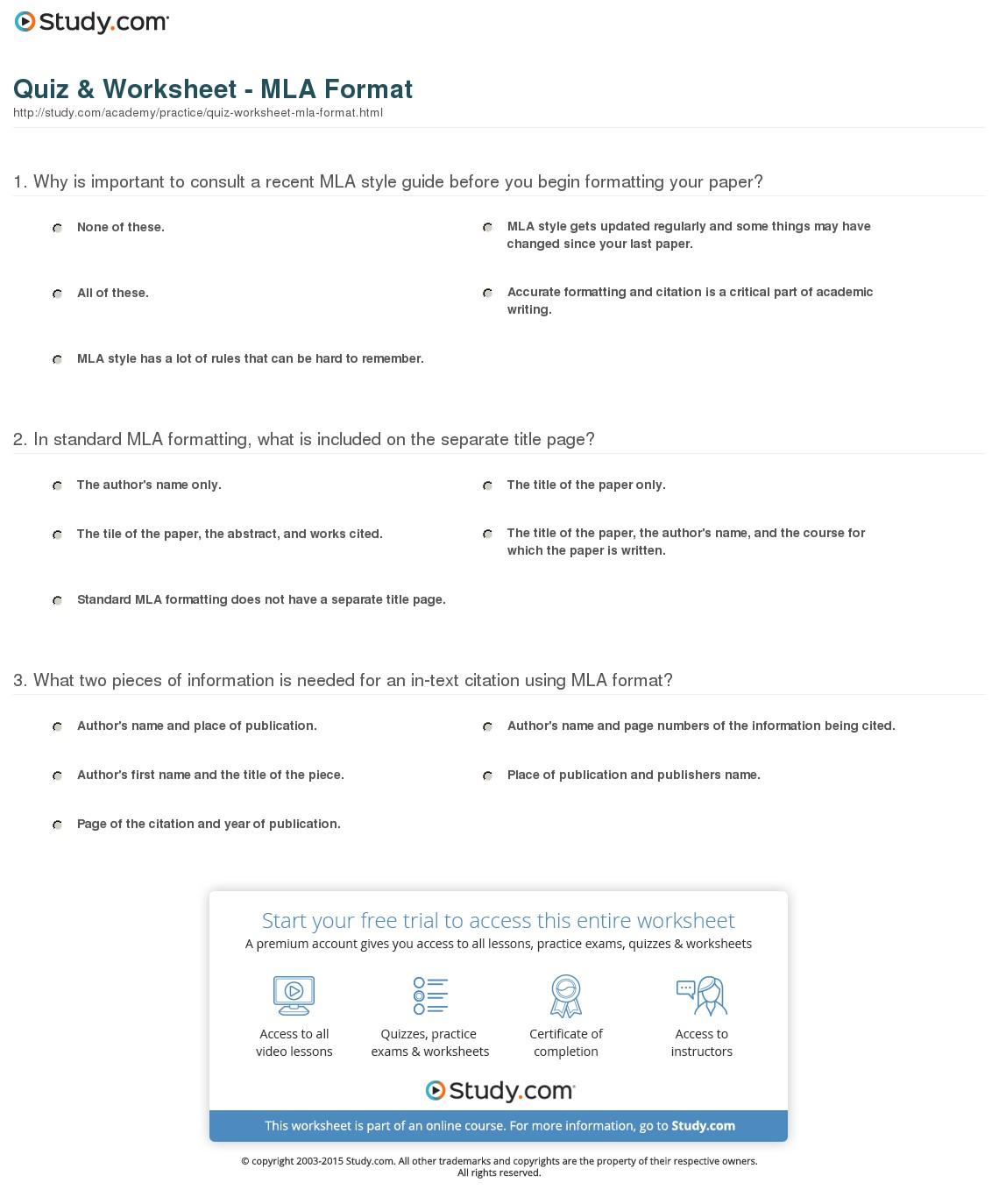 Mla Format Worksheets For Practice