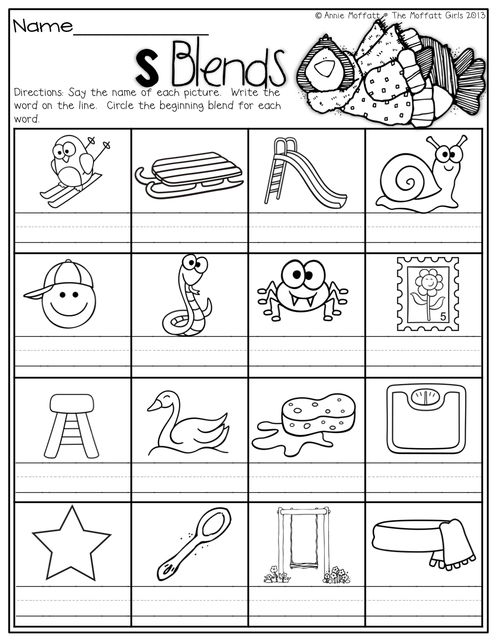Pictures S Blend Worksheets