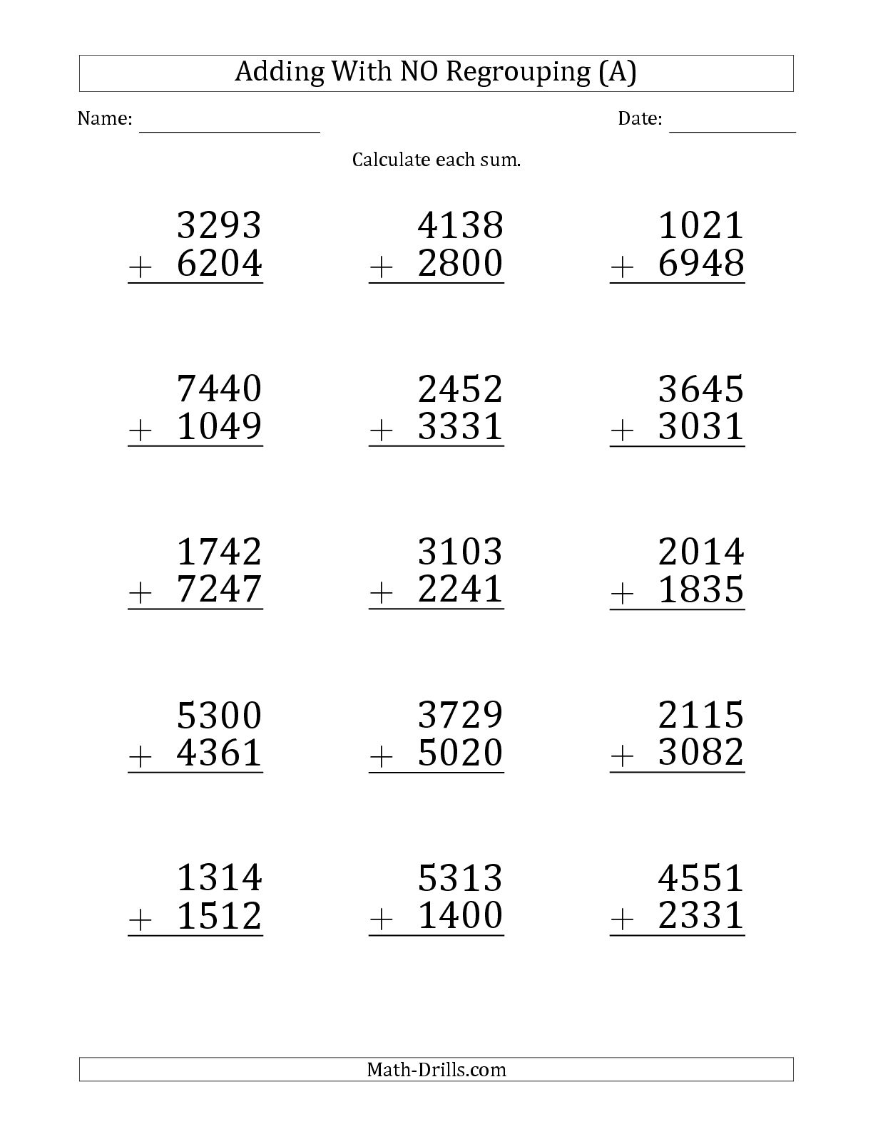 5 Digit Subtraction Worksheet