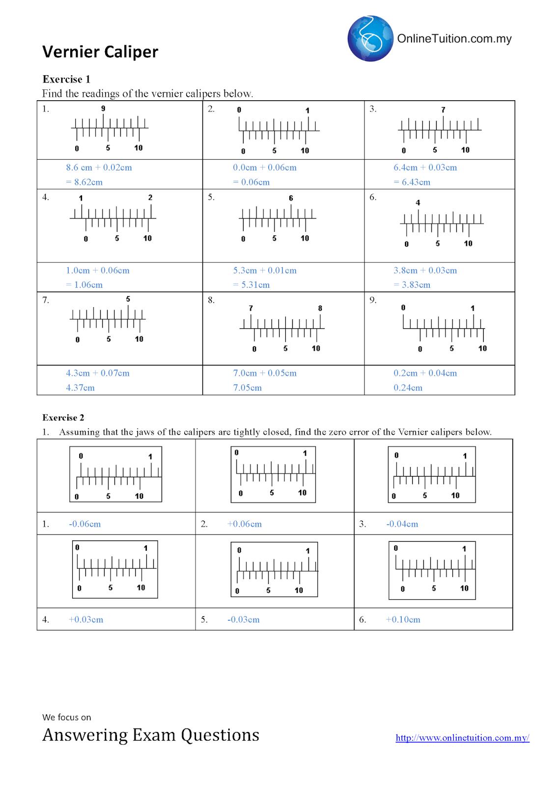 Vernier Caliper Worksheets