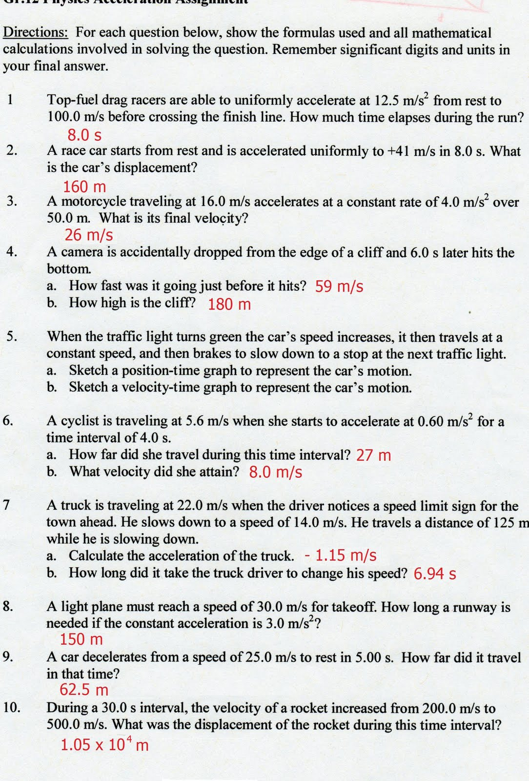 Displacement Velocity And Acceleration Worksheets Answer Key