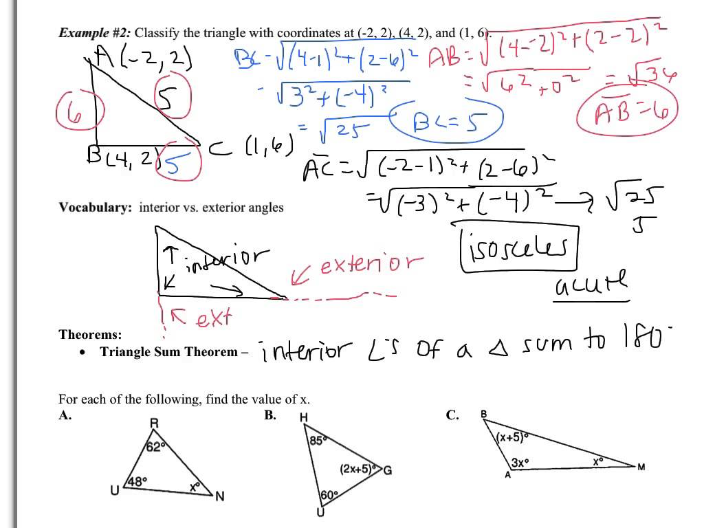 4 1 Worksheet Triangle Sum And Exterior Angle Theorem