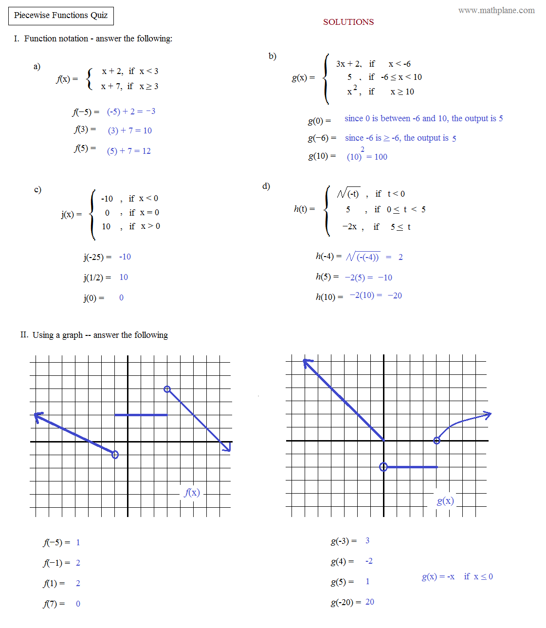 Piecewise Functions Worksheets Answers