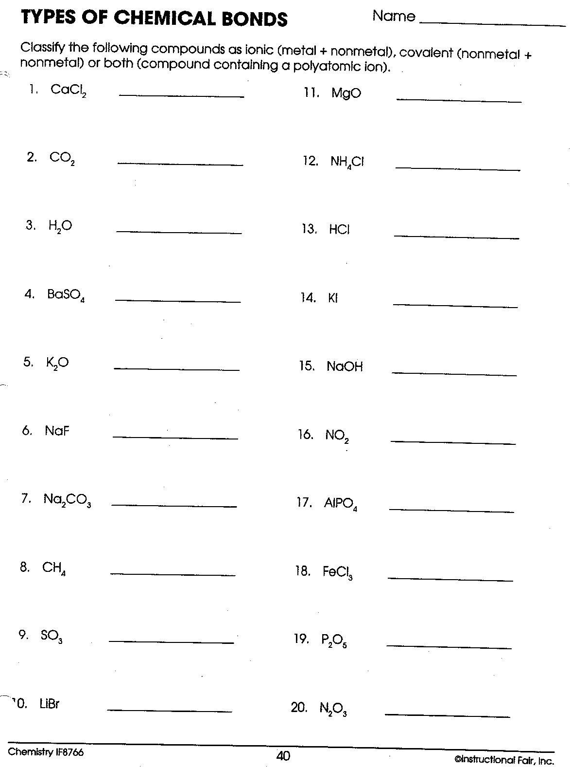 Ionic Vs Covalent Bonds Worksheets