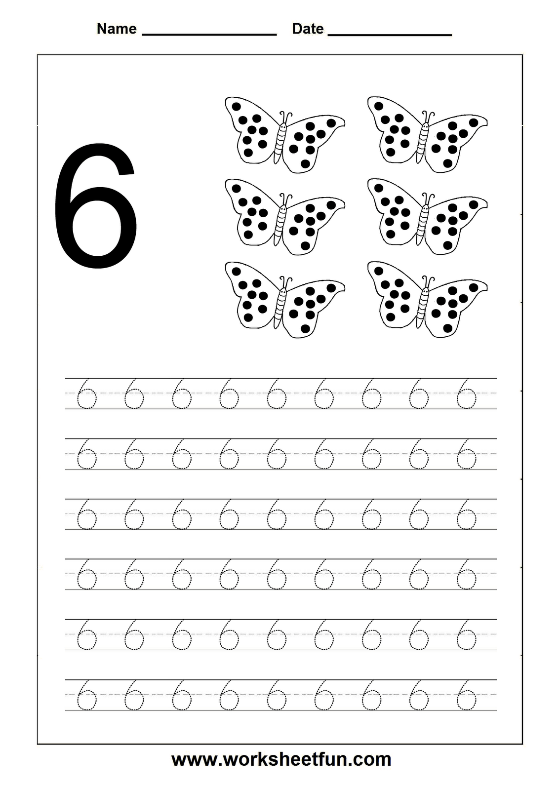 Number 6 Tracing Worksheets