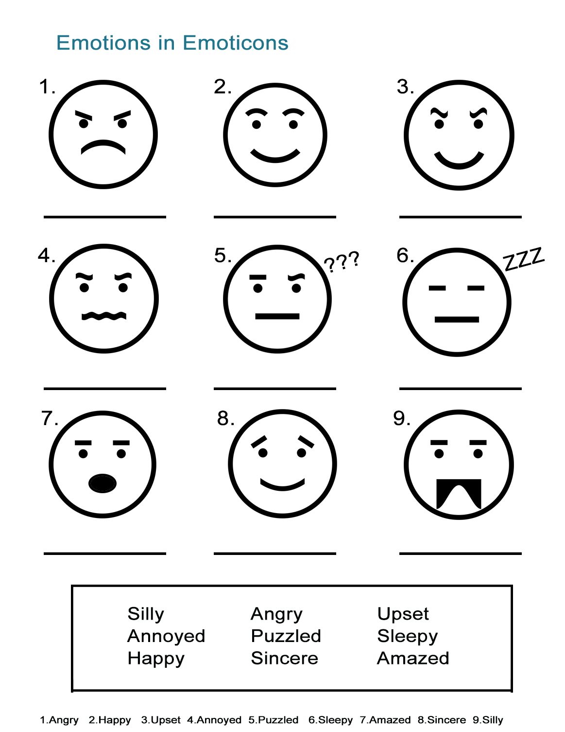 Emotion Faces Worksheets