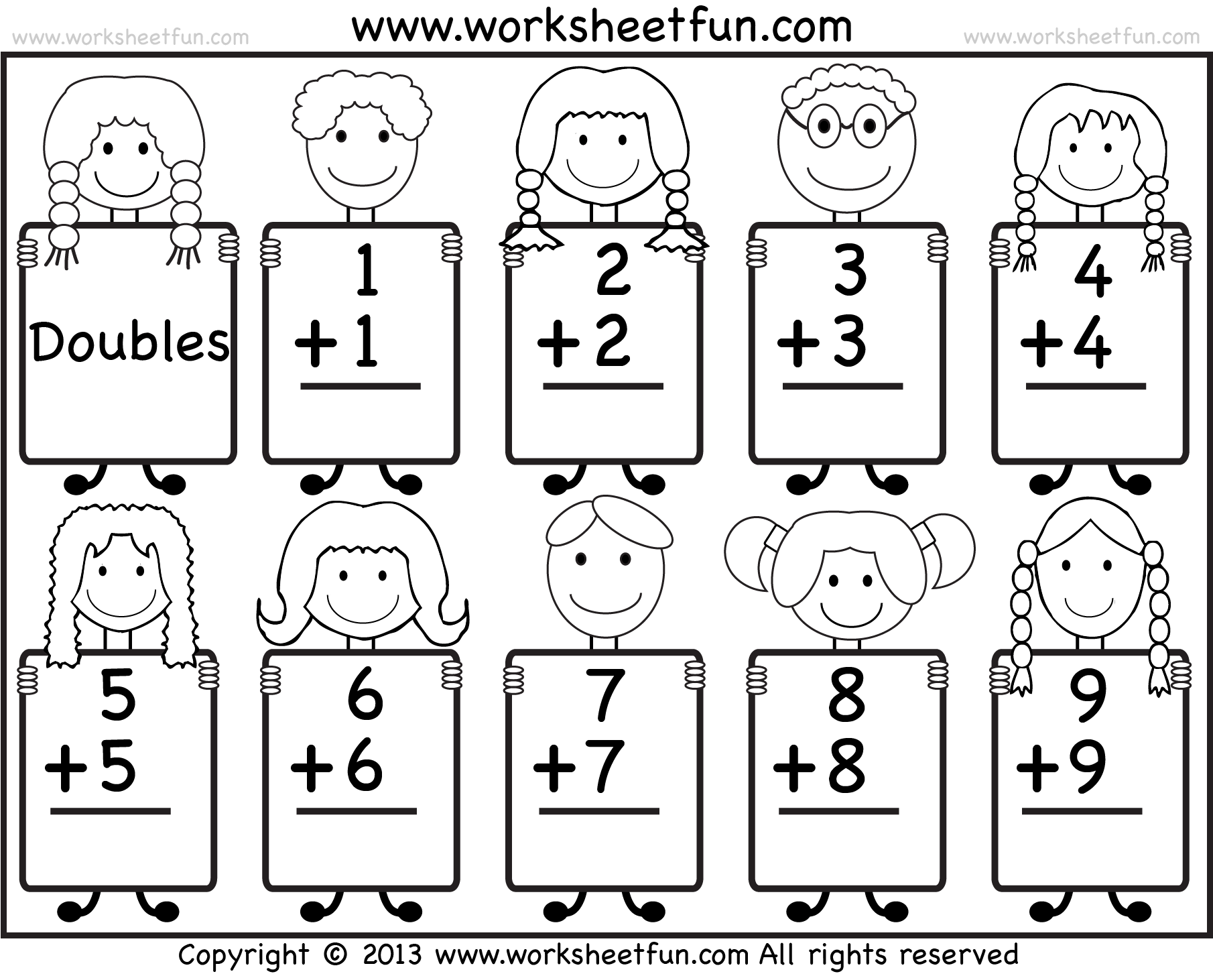 Doubles Addition Worksheets