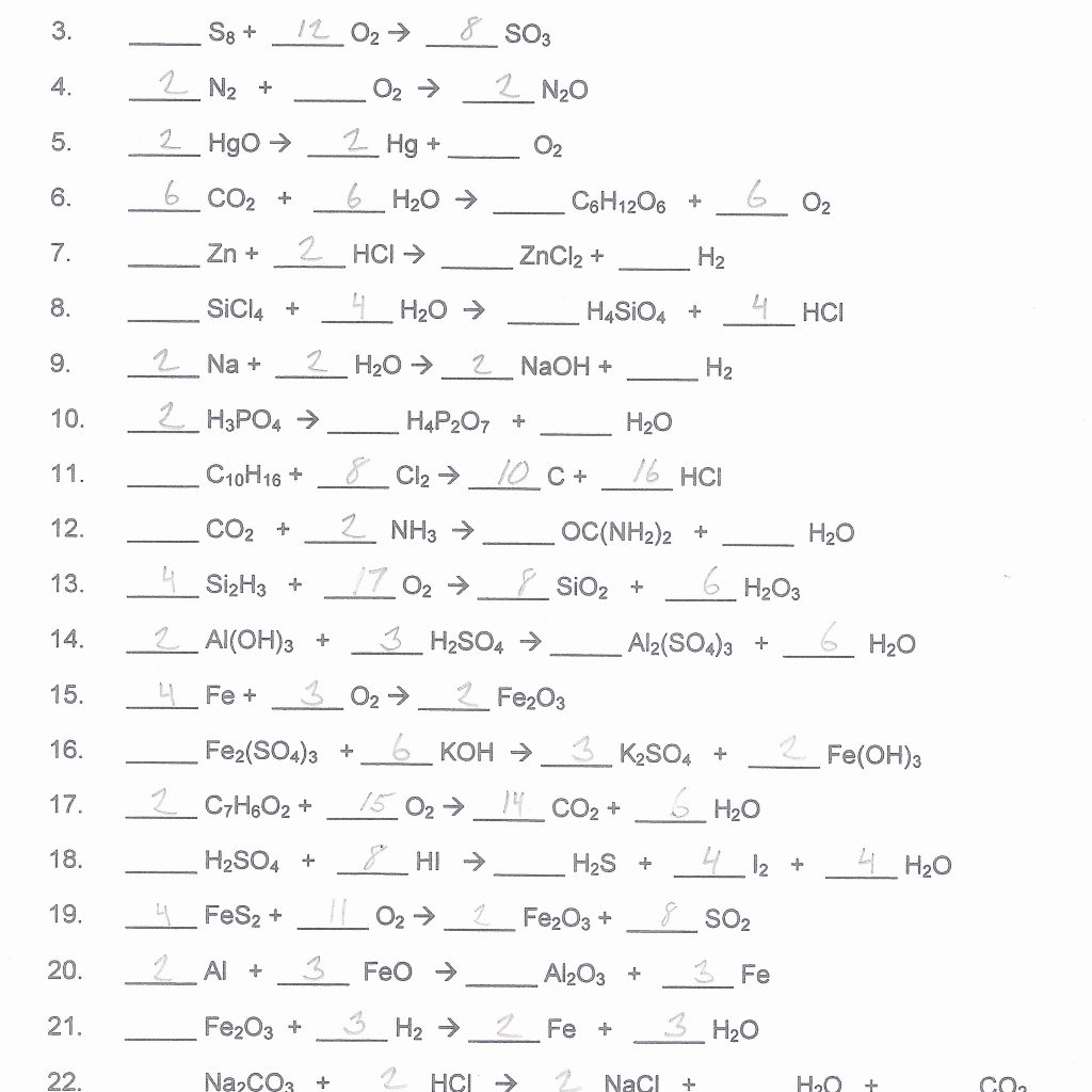 Chemfiesta Balancing Equations Worksheets Answers