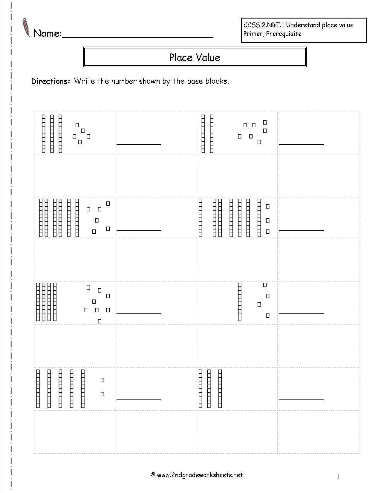 Base Ten Worksheets For First Grade Worksheets Samples
