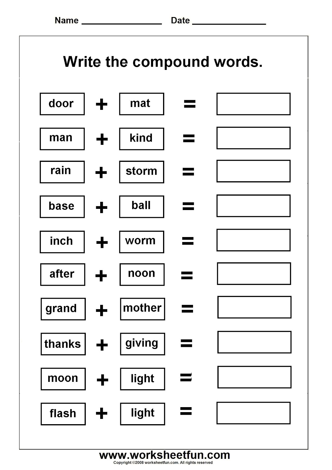 Christmas Compound Words Worksheets