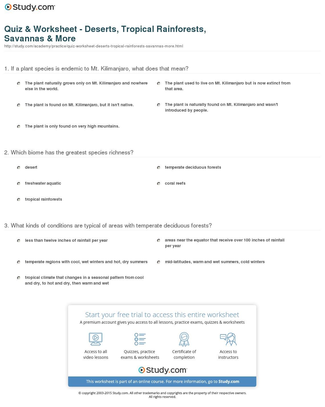 Biomes Reading Worksheet