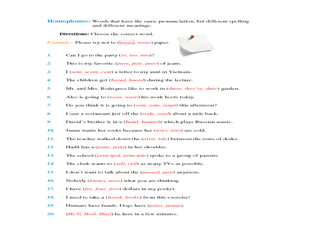 Homonyms Worksheets 5th Grade
