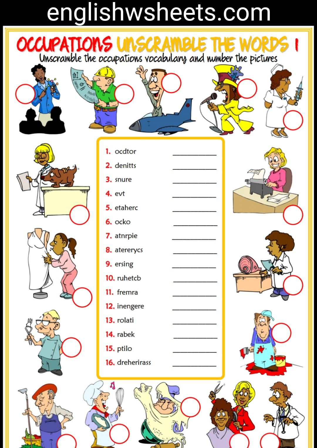 Occupation Worksheets For Kids