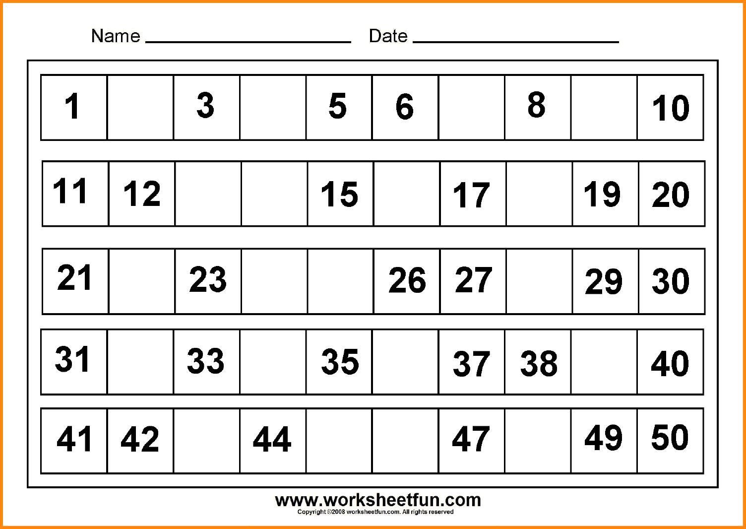 Kindergarten Missing Number Worksheets