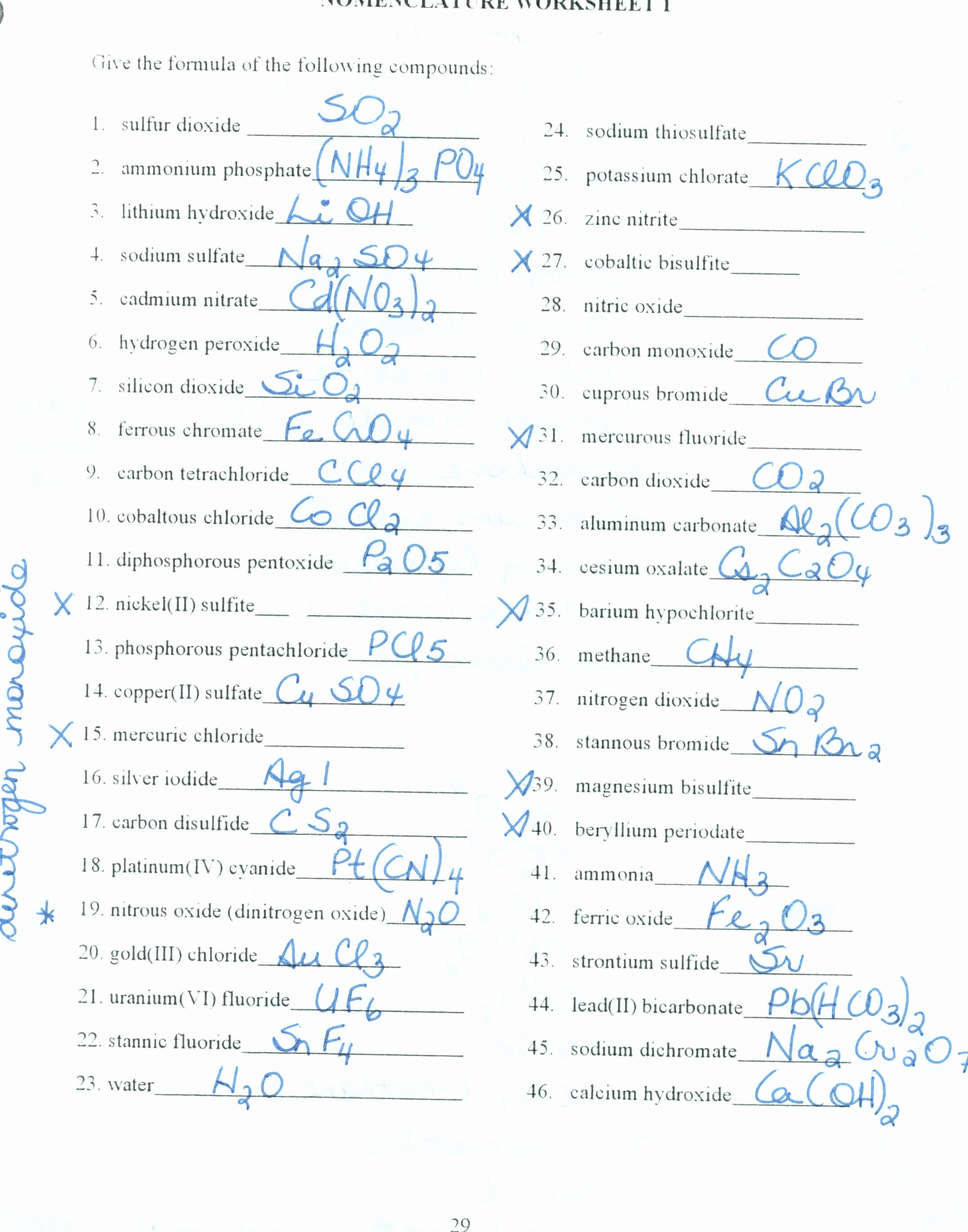 Chemical Nomenclature Worksheets