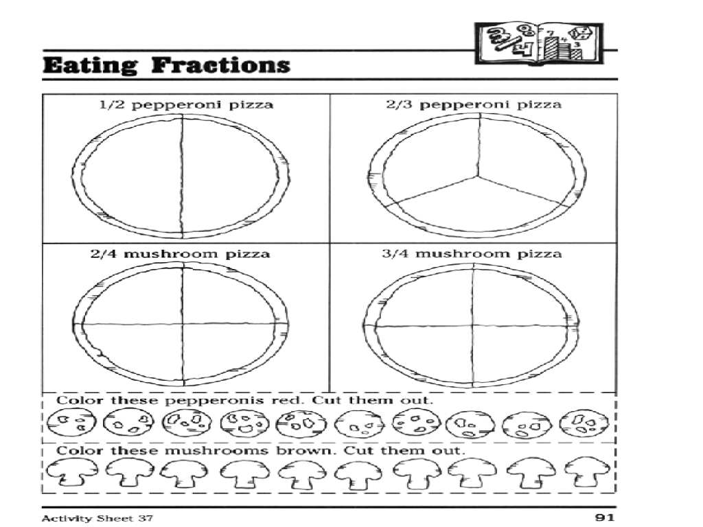 Pizza Fractions Worksheets