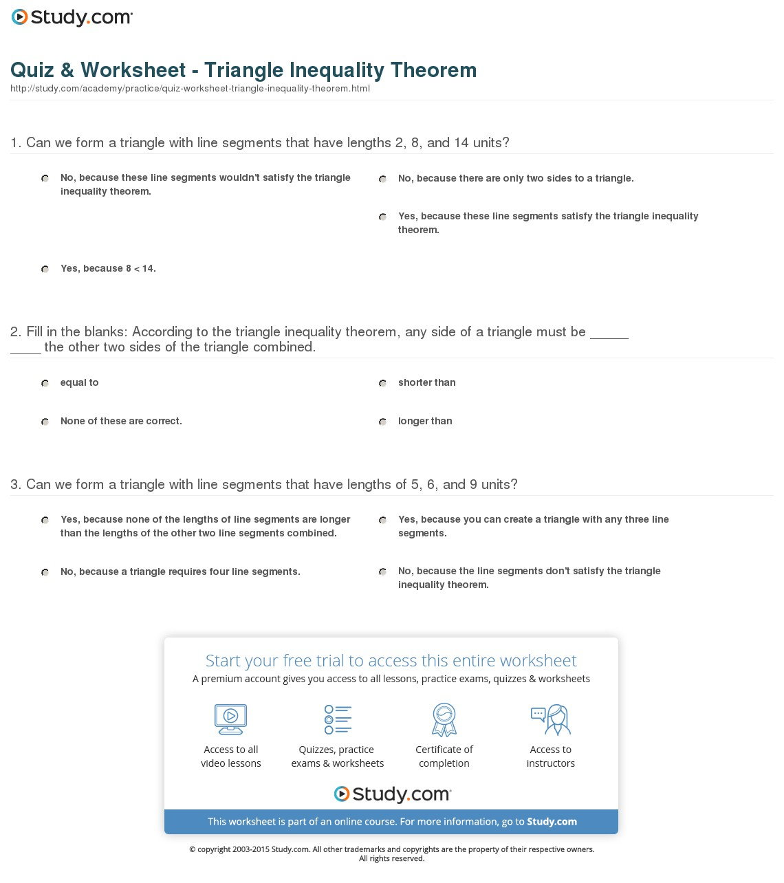 Triangle Inequalities Worksheets Answers