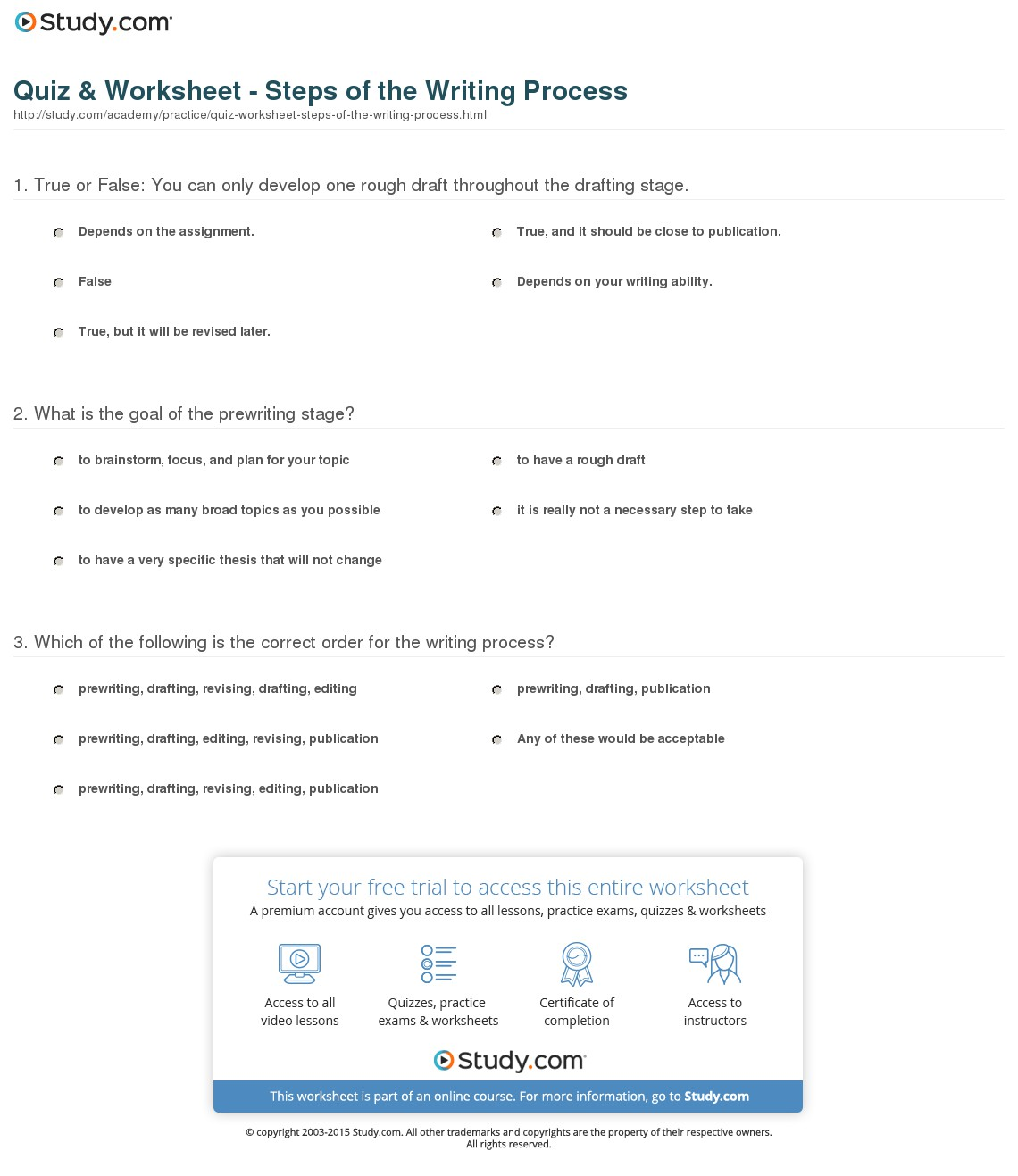 5 Step Writing Process Worksheets