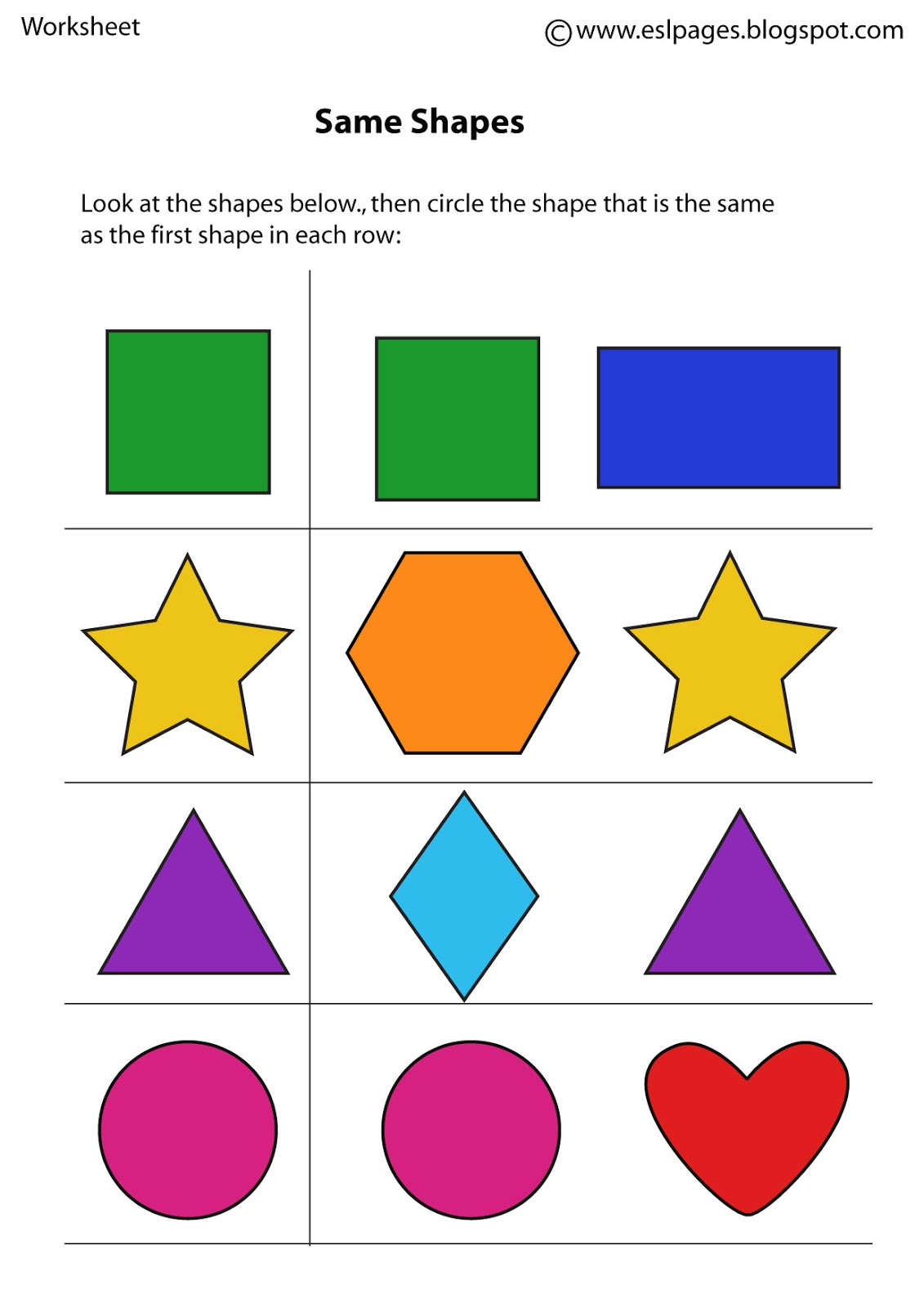 Find The Same Worksheet For Playgroup