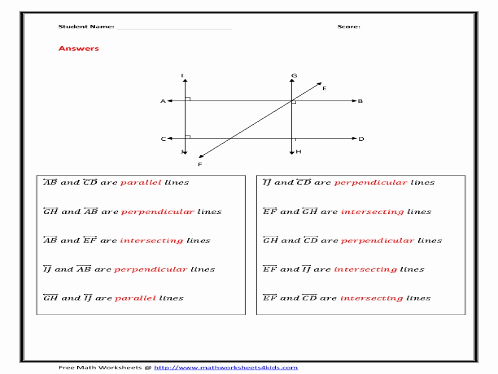 Slopes Of Parallel And Perpendicular Lines Worksheet