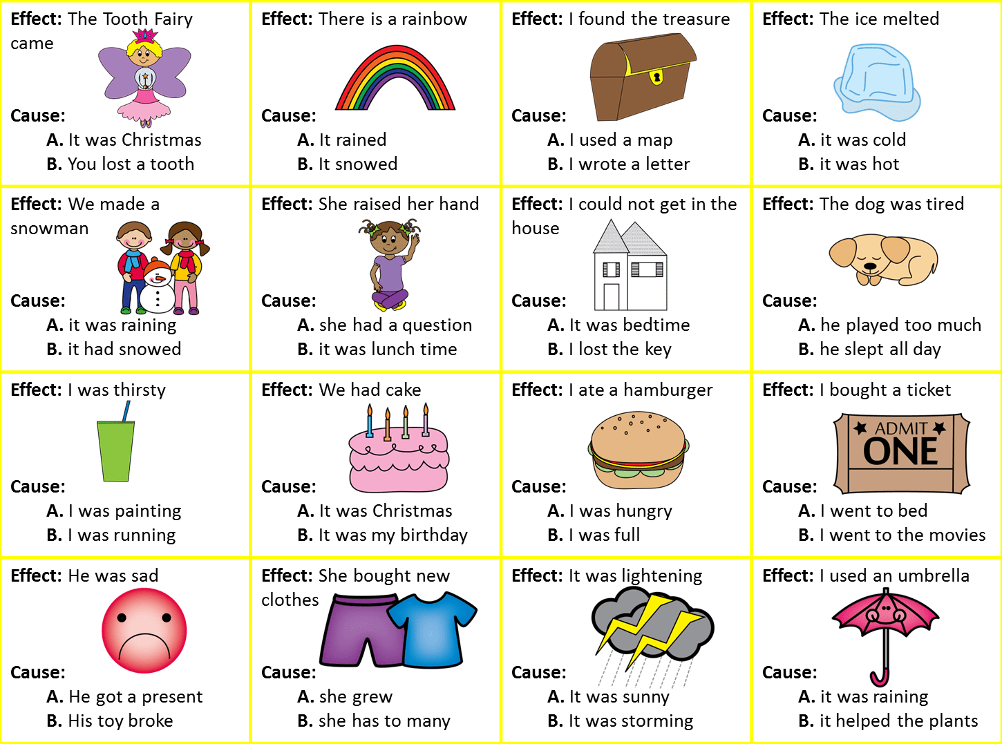 Cause And Effect Kindergarten Worksheets