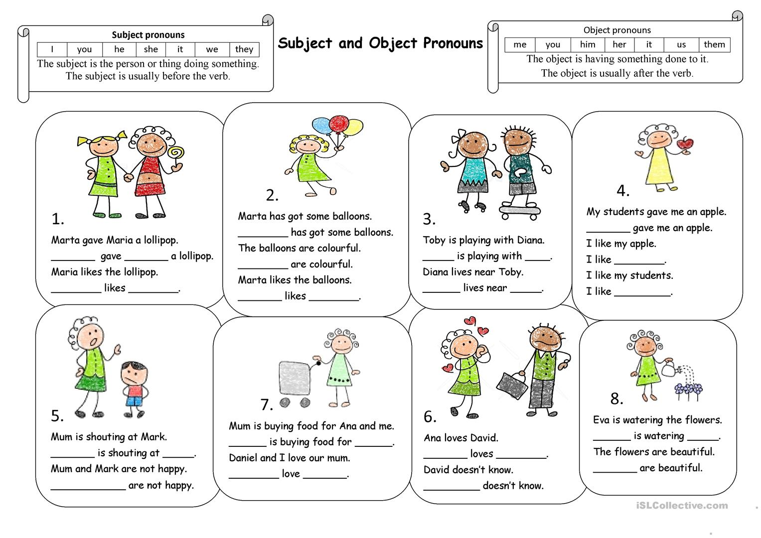 Subject And Object Pronouns Printable Worksheets