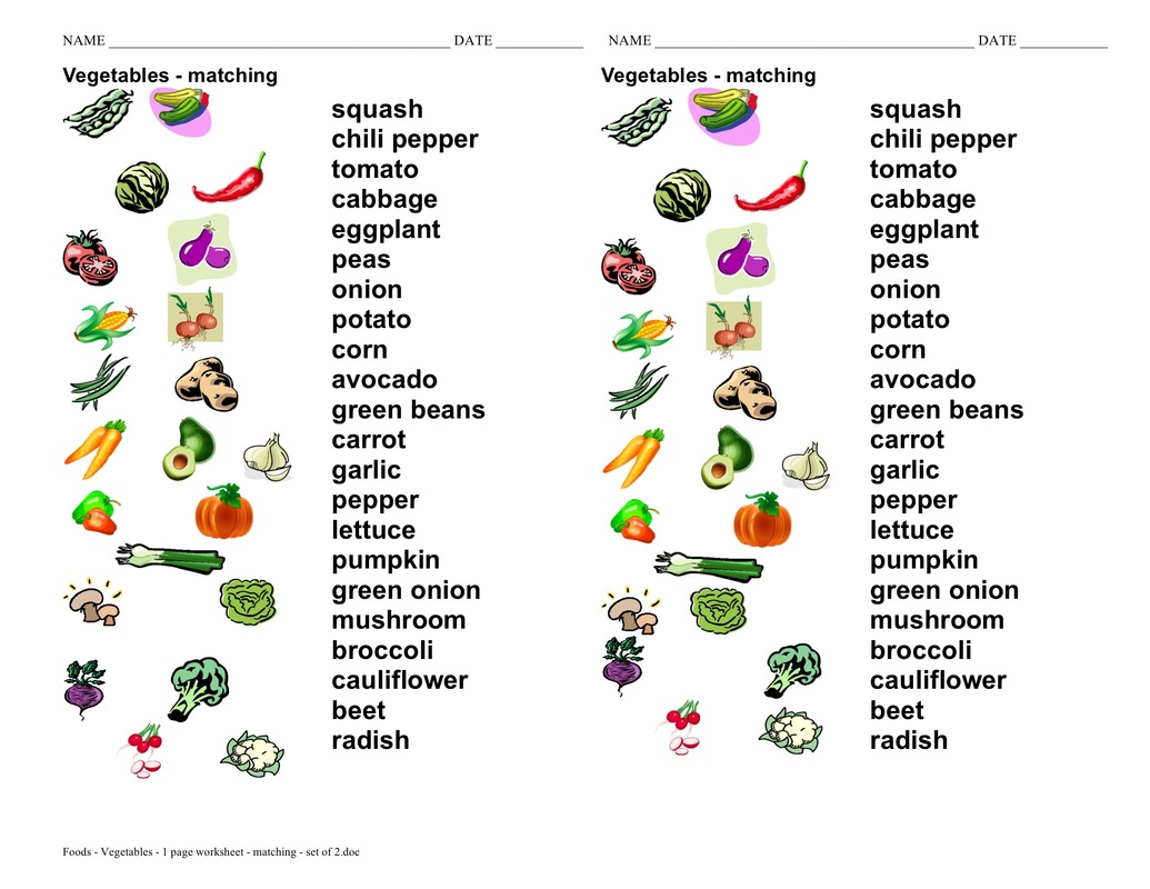 Vegetables Worksheets