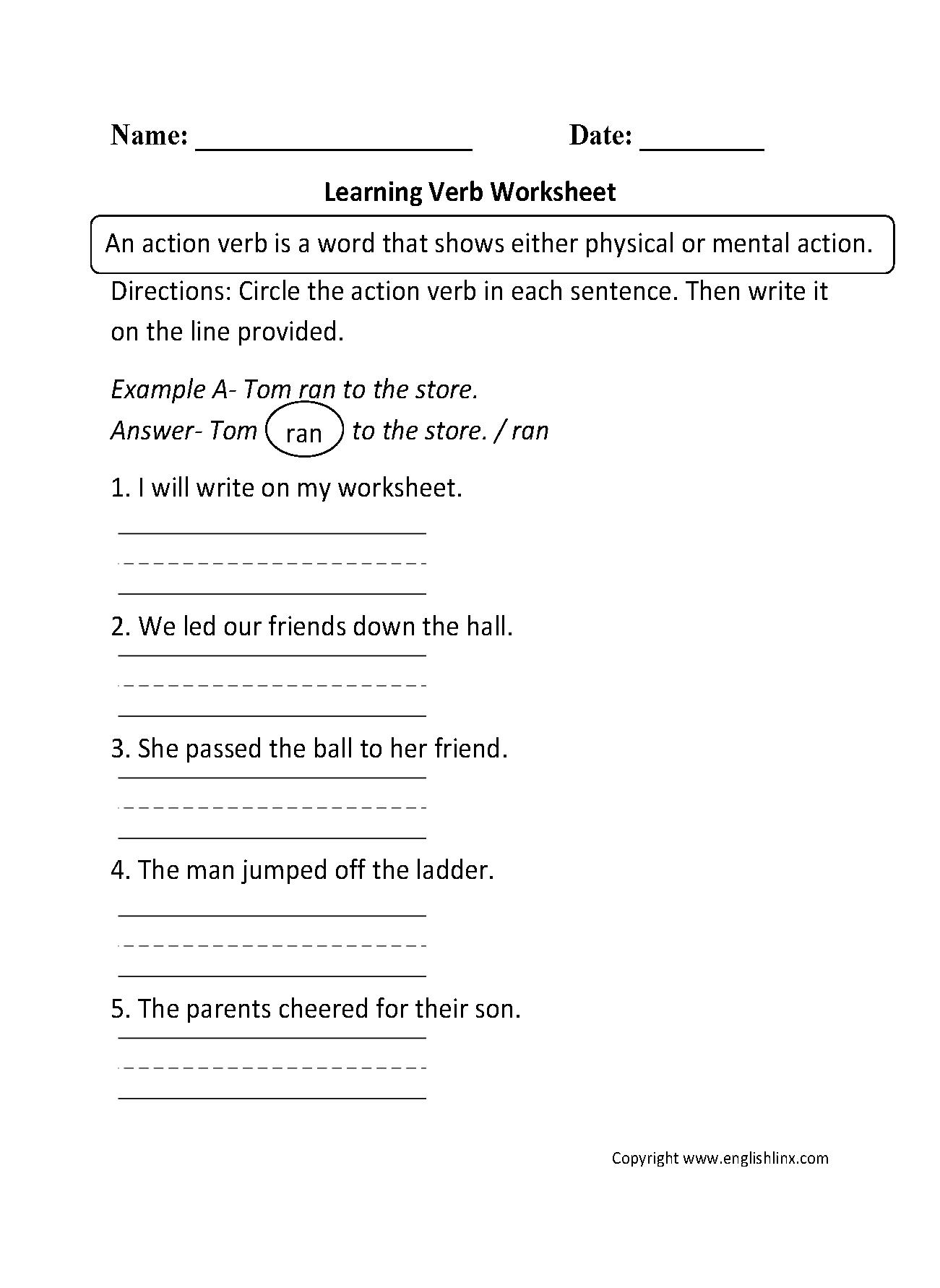 Verb Worksheets Kindergarten