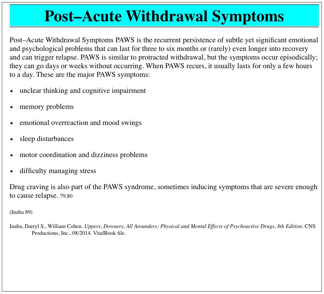Post Acute Withdrawal Worksheets