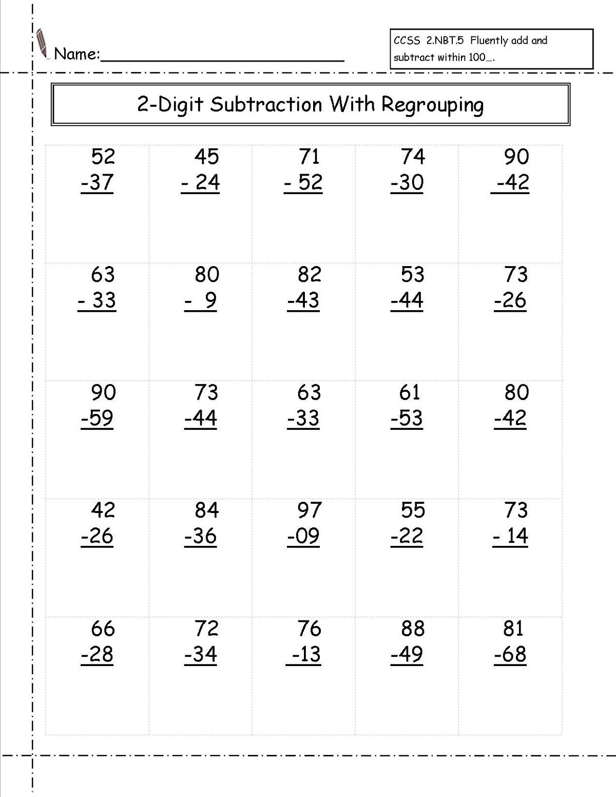 2 Digit Math Worksheets Worksheets Samples