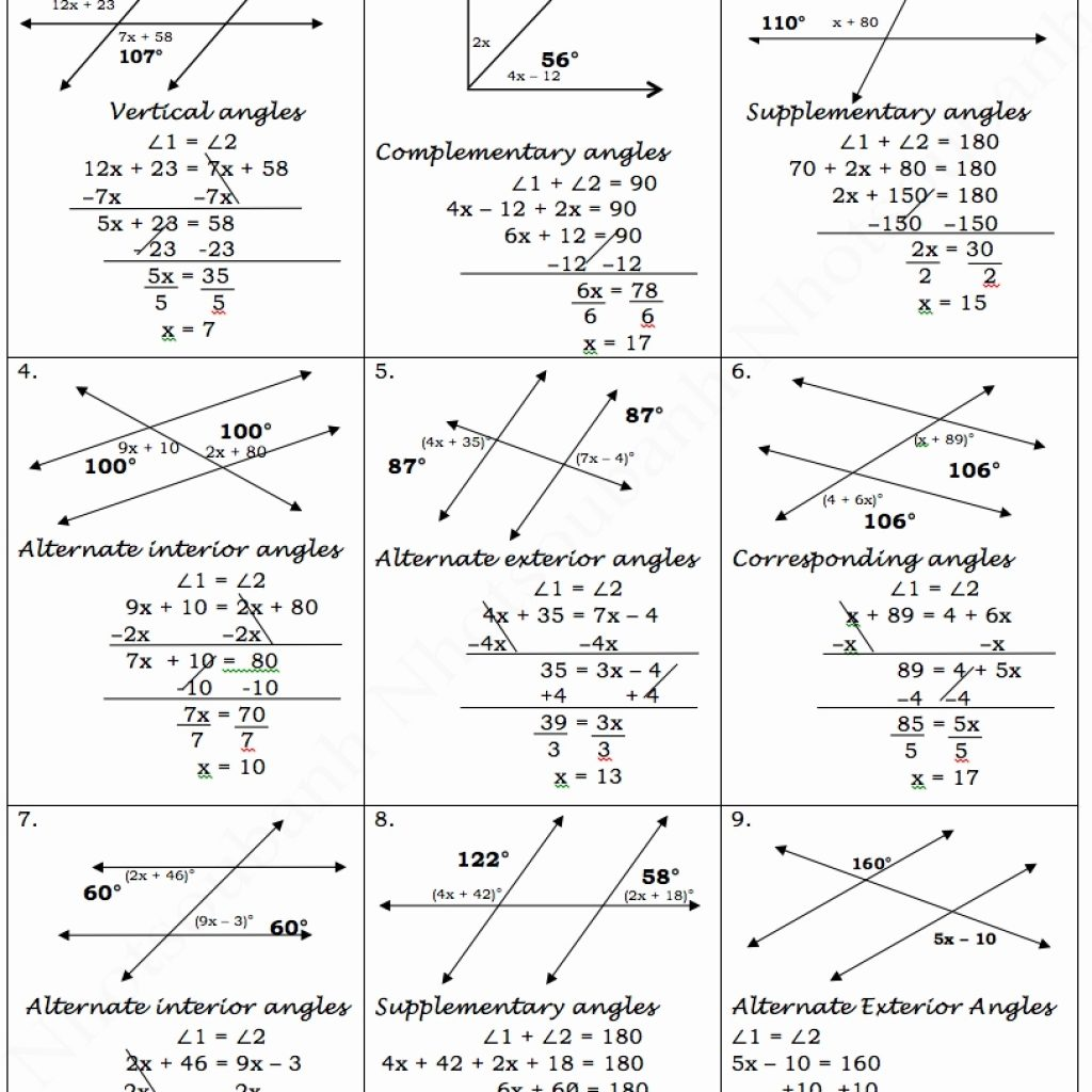 Parallel Lines And Transversals Worksheets