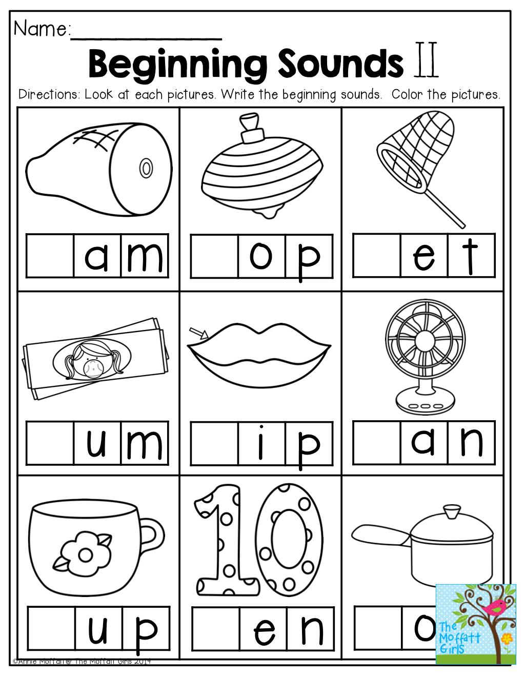 Beginning Sound Worksheets For Kindergarten Math Christmas