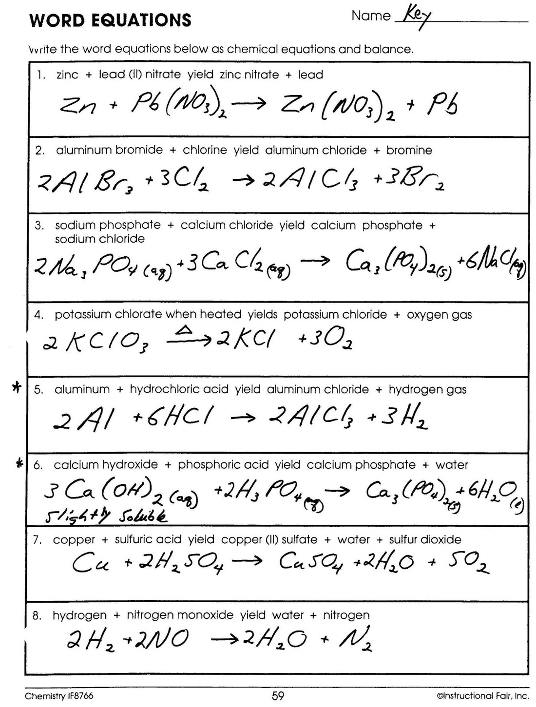 Chemistry Word Equations Worksheets Answers